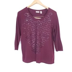 Chicos Sequins Pattern Basic Shirt